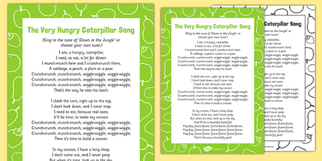 Song to Support Teaching on The Very Hungry Caterpillar - EYFS, butterfly, egg, life cycle, cocoon, caterpillar