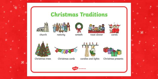 Christmas Traditions Word Mat - christmas, traditions, word mat