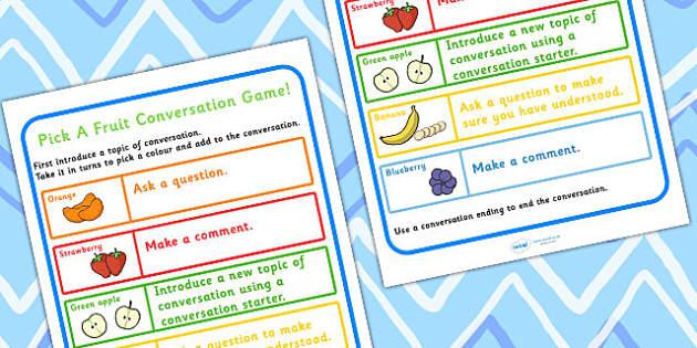 Conversation Practise Pick A Fruit Colour Game - games, SEN games
