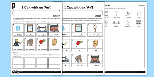 I Can with an An Activity Sheet Pack - GPS, punctuation, spelling, grammar, article, worksheet