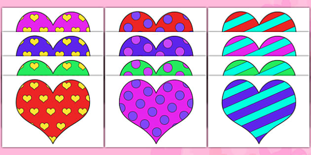Valentine's Day Patterned Hearts - valentine, heart, love, cupid