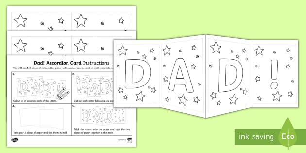 dad accordion gift card template dad accordion card template. Black Bedroom Furniture Sets. Home Design Ideas
