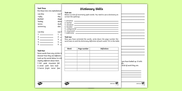 Dbt Worksheets Dictionary Skills Worksheets  Dictionary Work Dictionary Matter Worksheets For Second Grade with Fill In The Blank Stories Worksheets Excel  Writing Formulas Worksheet