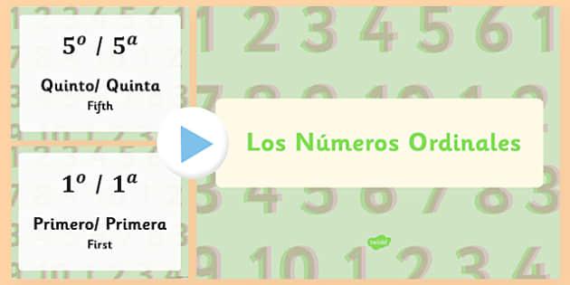 Los Números Ordinales Ordinal Numbers Spanish Presentation - spanish, Ordinal numbers, números ordinales, presentation, adjectives