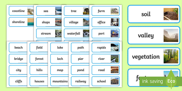 Geographical Features Word Cards - geographical features, topic