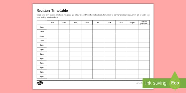 revision timetable – Revision Timetable Template
