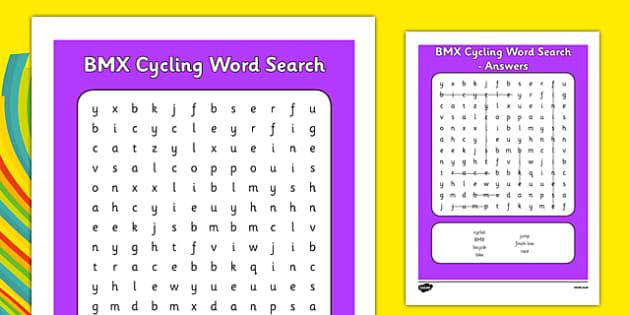 Rio 2016 Olympics BMX Cycling Word Search - rio 2016, 2016 olympics, rio olympics, bmx cycling, bmx, cycling, word search