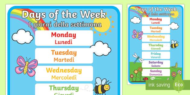 English In Italian: Days Of The Week Display Poster Italian/English