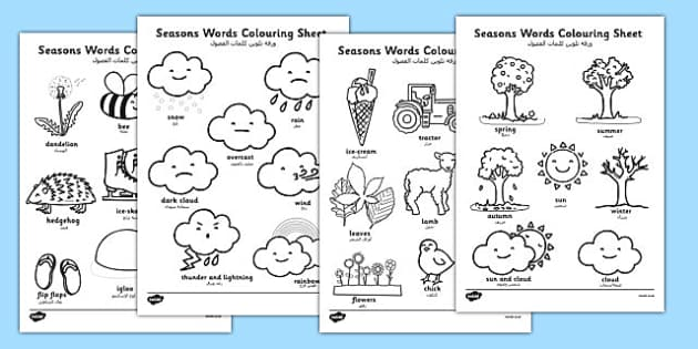 Pirate Colouring Sheets Twinkl : Season words colouring sheets arabic translation arabic
