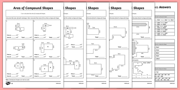 area of compound shapes differentiated worksheet pack. Black Bedroom Furniture Sets. Home Design Ideas
