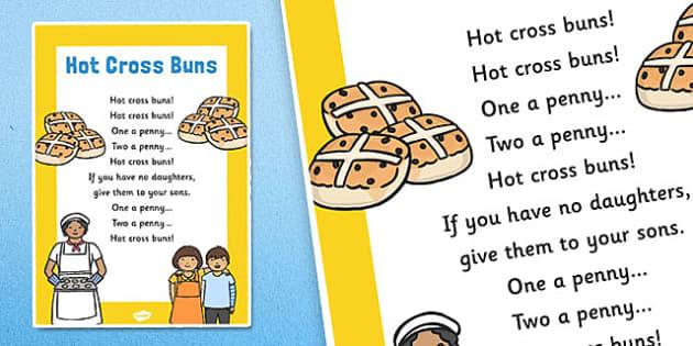 Hot Cross Buns Nursery Rhyme Poster Rhymes Display Poem