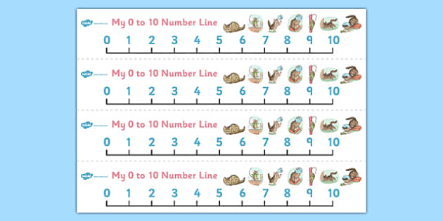 The Story of Miss Moppet Number Lines 0-10 - miss moppet, number lines, 0, 10, number, line, maths, beatrix potter