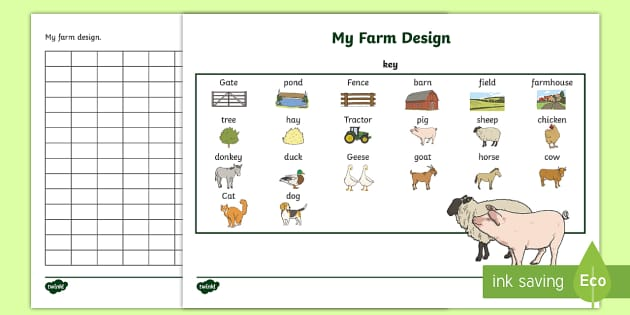 Twinkl Farm Animal Colouring Pages : Design a farm aistear activity sheet infants english