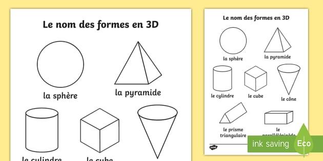 feuille de coloriage avec mots le nom des formes en 3d
