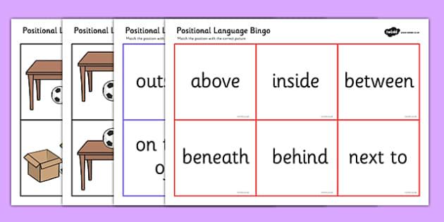 Positional Language Bingo - Postion, Positional, Bingo, game