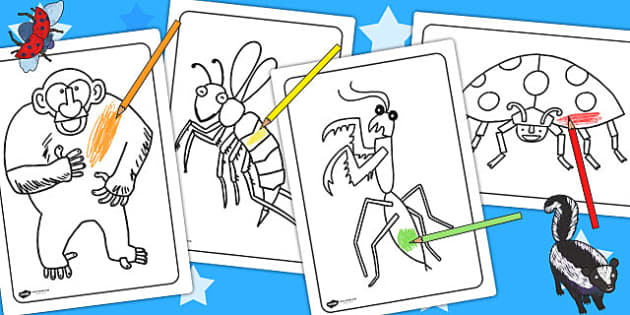 Colouring Sheets to Support Teaching on The Bad Tempered Ladybird - fine motor skills