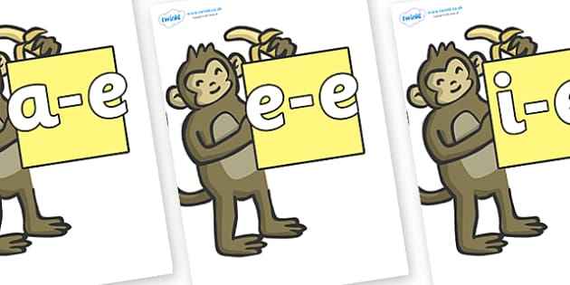 Modifying E Letters on Monkeys - Modifying E, letters, modify, Phase 5, Phase five, alternative spellings for phonemes, DfES letters and Sounds