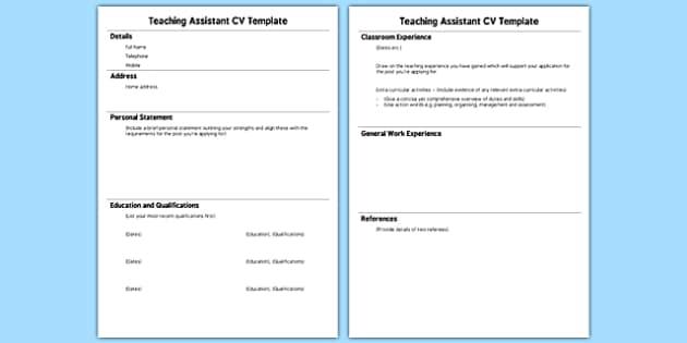 Teaching Assistant CV Template - teaching, assistant, cv