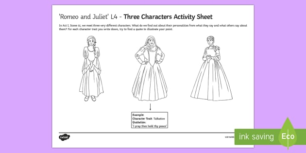 romeo and juliet act i scene iii key characters activity sheet. Black Bedroom Furniture Sets. Home Design Ideas
