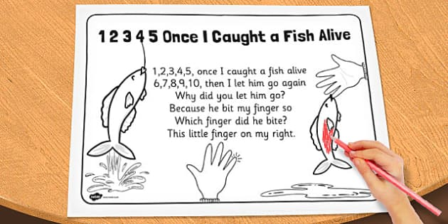 1 2 3 4 5 once i caught a fish alive colouring in sheet for Once i caught a fish alive