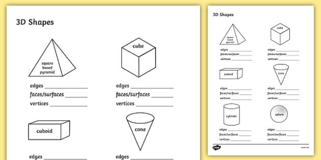 3D Shape Properties Worksheets 3D shapes shape properties – Faces Edges Vertices Worksheet