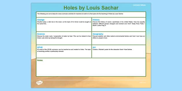Holes by Louis Sachar Teaching Ideas-Irish