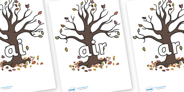 Phase 3 Phonemes on Autumn Trees - Phonemes, phoneme, Phase 3, Phase three, Foundation, Literacy, Letters and Sounds, DfES, display