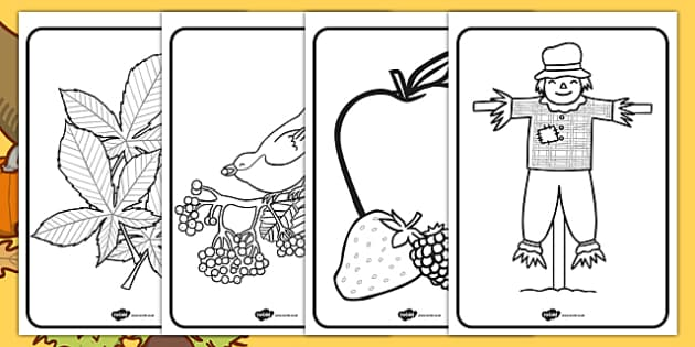 Harvest Themed Colouring Pages seasons weather autumn