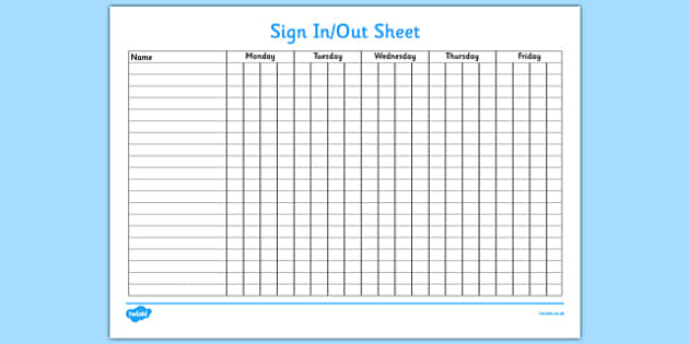 Sign In and Out Sheet - sign in, sign out, sign, sheet, record