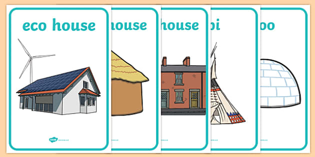 Homes Around the World Display Posters - house, home, building, Display Posters, A4, display, posters, brick, stone, detached, terraced, bathroom, kitchen, door, caravan, where we live, ourselves