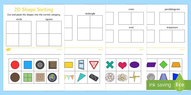 2D Shape Sorting Activity Sheet - 2D, shapes, 2D shape, 2D shapes, shape sorting, ks1 shape, eyfs shape