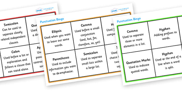 Punctuation Bingo - punctuation bingo, punctuation, punctuation marks, bingo, game, fun, activity, grammar, learning, practicing