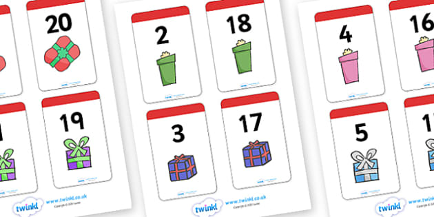 Number Bonds to 20 Present Matching Cards Activity - christmas