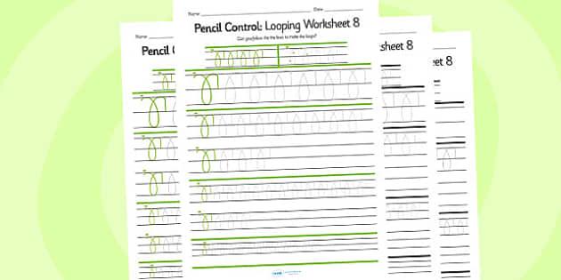 Pencil Control Looping Worksheet 8 - pencil control, looping
