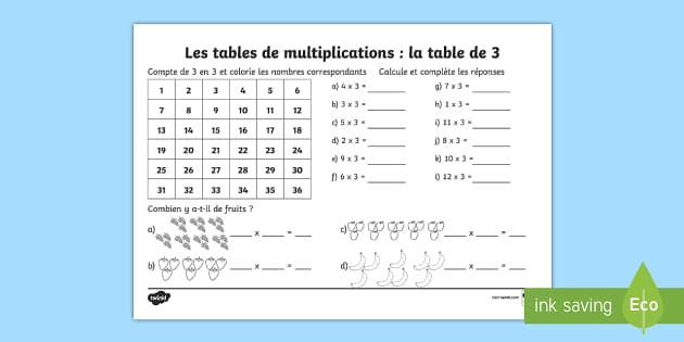 Fiche de calcul la table de 3 les multiplications feuille for Les table de multiplications