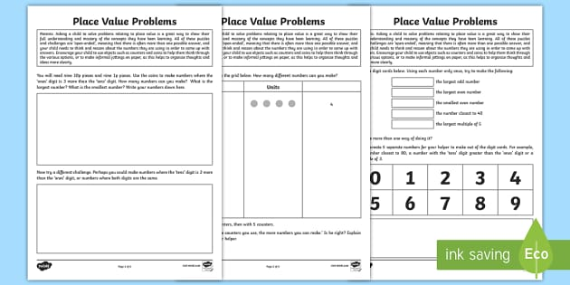 year 2 place value problem solving homework activity sheet. Black Bedroom Furniture Sets. Home Design Ideas