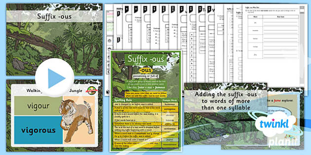 PlanIt Y3 SPaG Lesson Pack: Suffix -ous - GPS, grammar, spelling, punctuation, root word