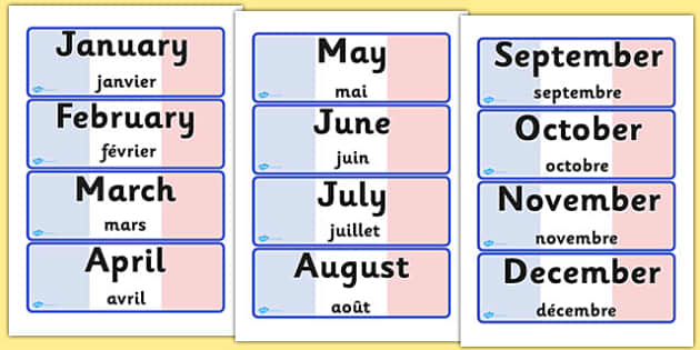 French Months of the Year Word Cards English Translation