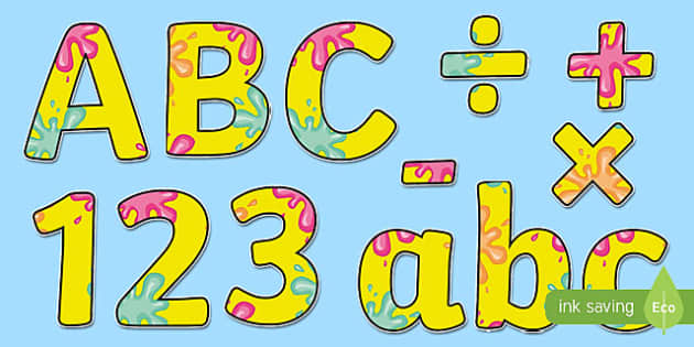 Splat Themed A4 Display Lettering - splat, lettering, display