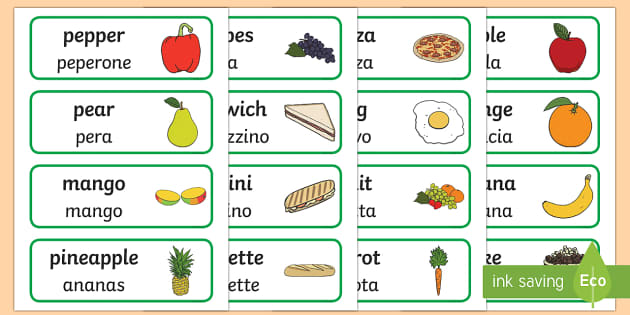 Food topic word cards english italian food topic word cards for Cuisine translate