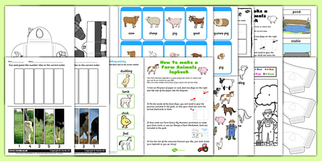 Twinkl Farm Animal Colouring Pages : Farm animals lapbook creation pack farm animals lapbook