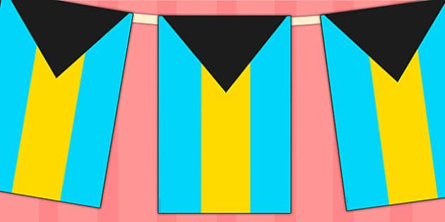 The Bahamas Flag Display Bunting - commonwealth, display, flags
