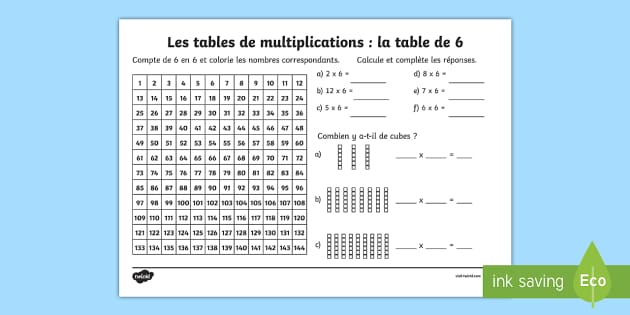 Fiche de calcul la table de 6 les multiplications feuille for Les table de multiplications