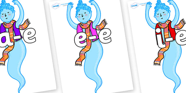 Modifying E Letters on Genie of the Ring - Modifying E, letters, modify, Phase 5, Phase five, alternative spellings for phonemes, DfES letters and Sounds