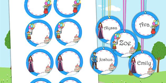Fairytale Themed Birthday Party Name Tags - birthdays, parties