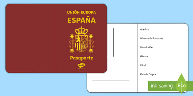 Spanish Passport Template Activity  Personal Description