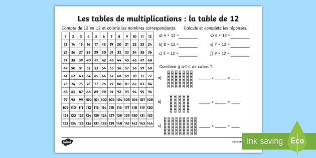 Fiche de calcul la table de 12 les multiplications for Les table de multiplications