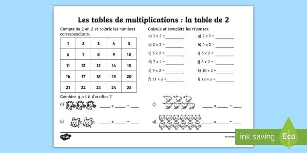 Fiche de calcul la table de 2 les multiplications feuille for Les table de multiplications