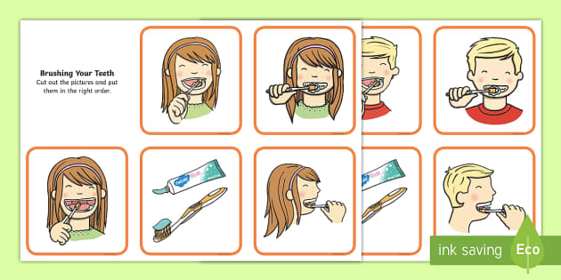 brushing your teeth sequencing cards brush brushing teeth. Black Bedroom Furniture Sets. Home Design Ideas