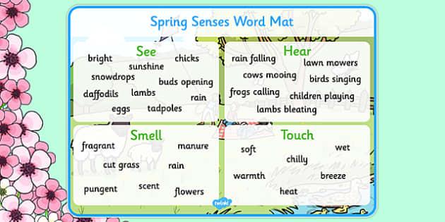 Spring Themed Senses Word Mat - spring, seasons, word mat, senses